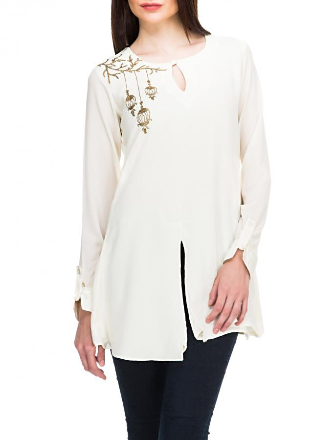 White kurti feautring in sequin embroidery only on Kalki