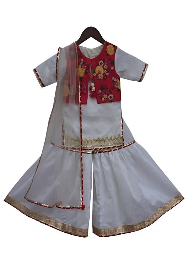 White Kurti with attached Jacket and Sharara by Fayon Kids