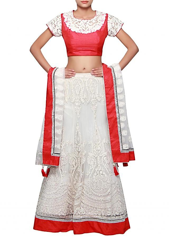 White lehenga adorn in thread and kundan embroidery only on Kalki