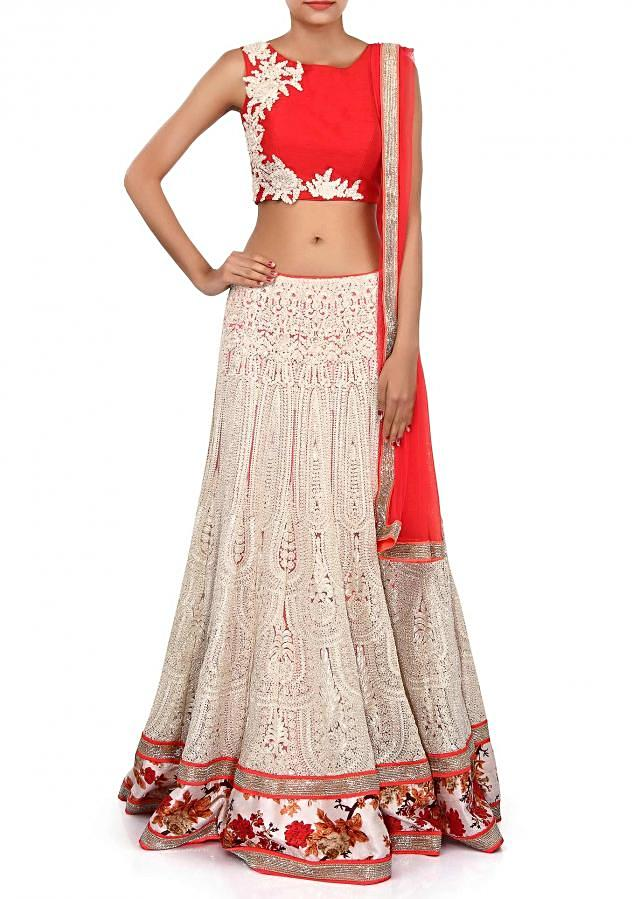 White lehenga adorn in zari embroidery only on Kalki