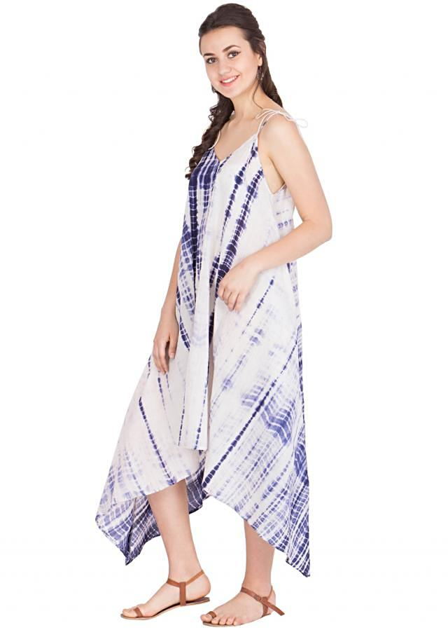 White and blue lightweight cotton dress