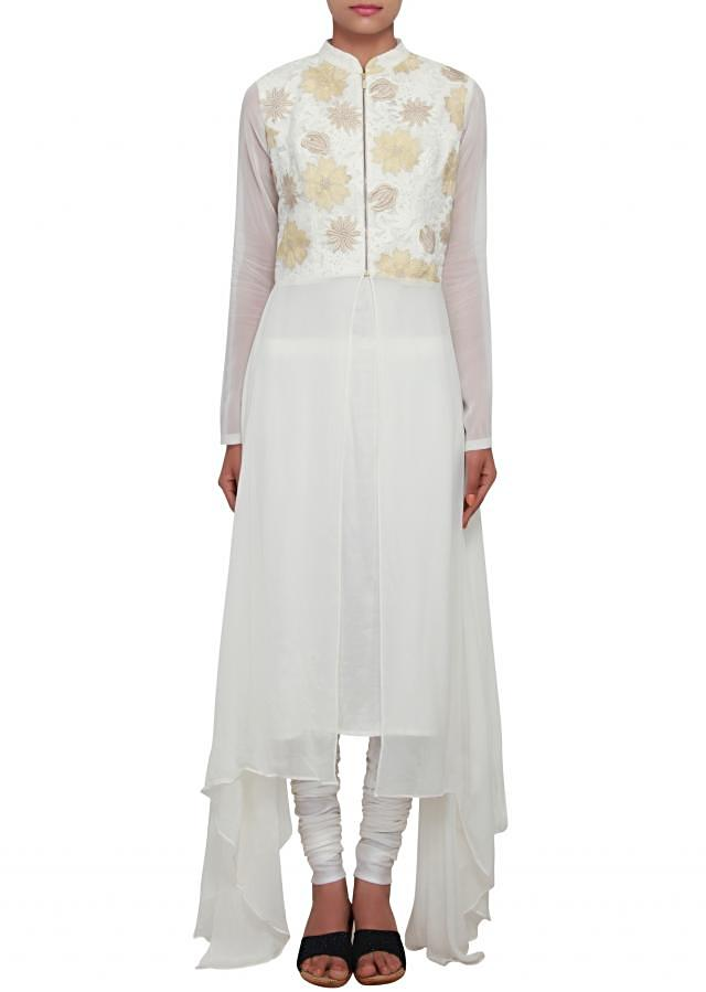 White outfit embellished in thread and lurex cut work only on Kalki