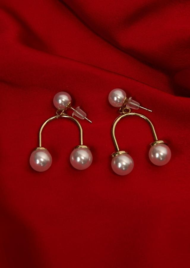 White pearl studs with drop