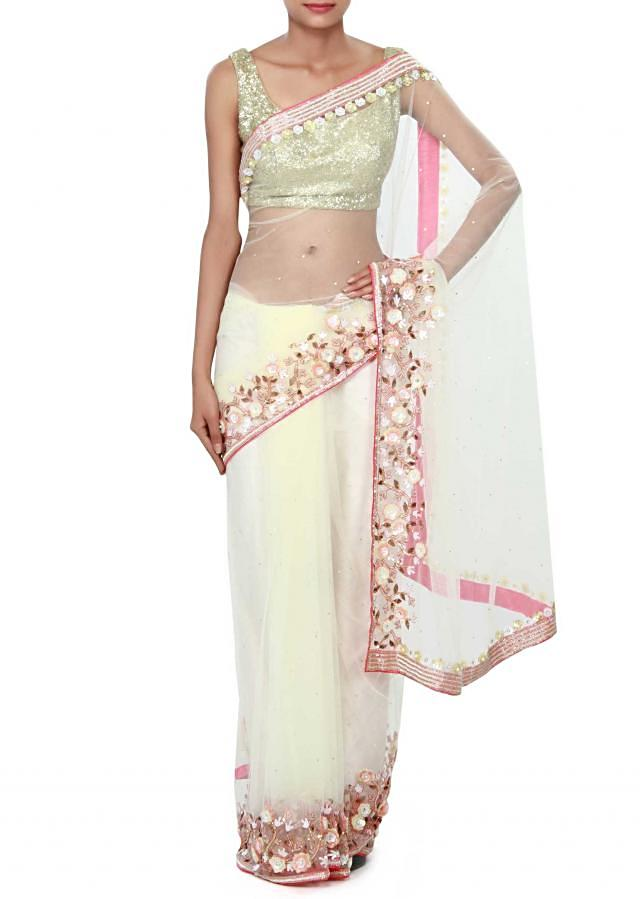 White saree embellished in 3D flower only on Kalki