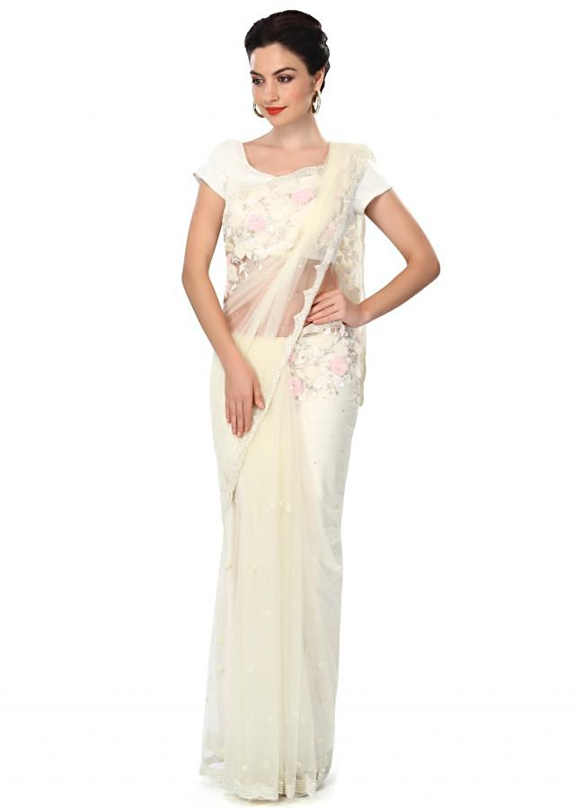White saree embellished in pearl and sequin work only on Kalki