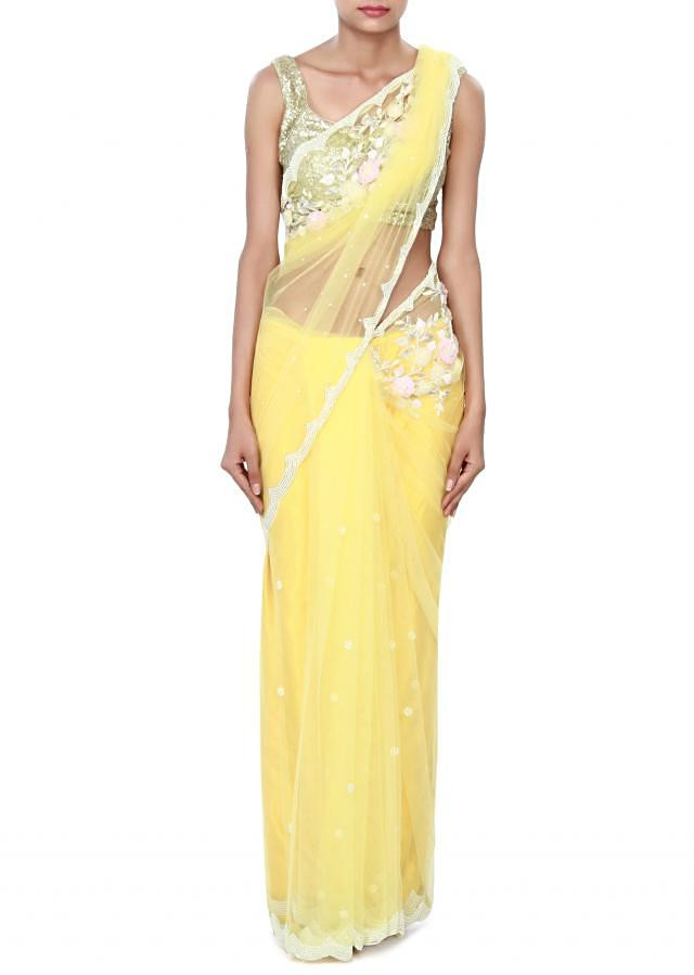 Yellow saree enhanced in 3D flower only on Kalki