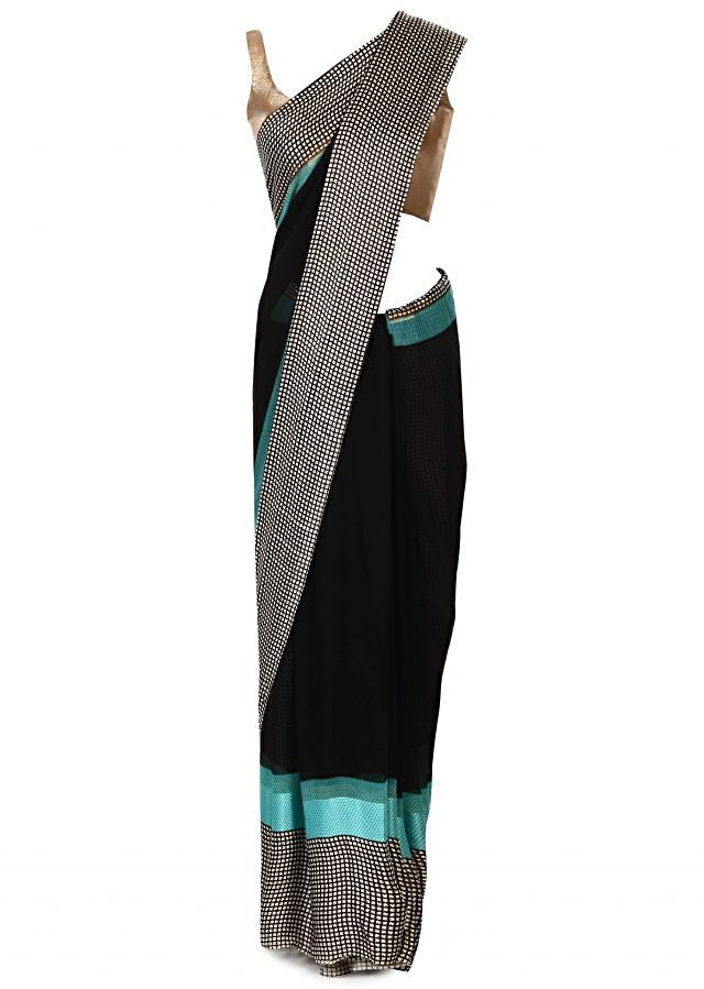 Black saree in abstract print only on Kalki