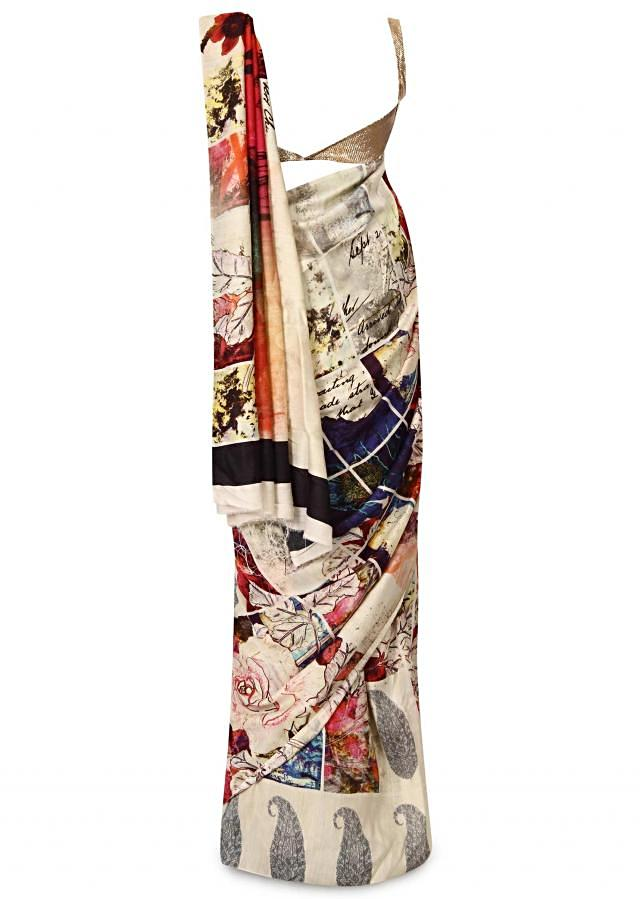 White saree in floral and alphabet print only on Kalki