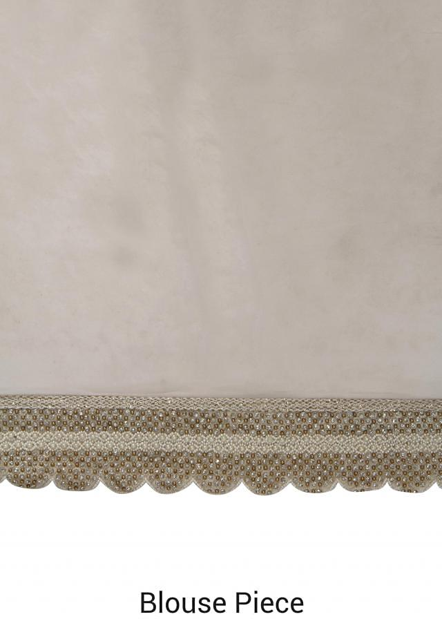 White saree in thread and pearl embroidery only on Kalki