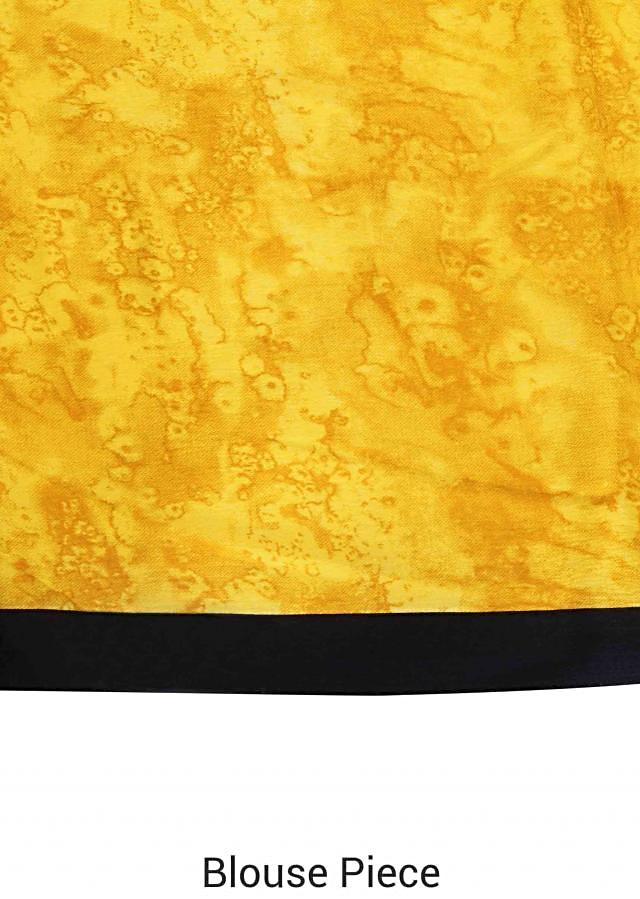 White and yellow saree with abstract print only on Kalki