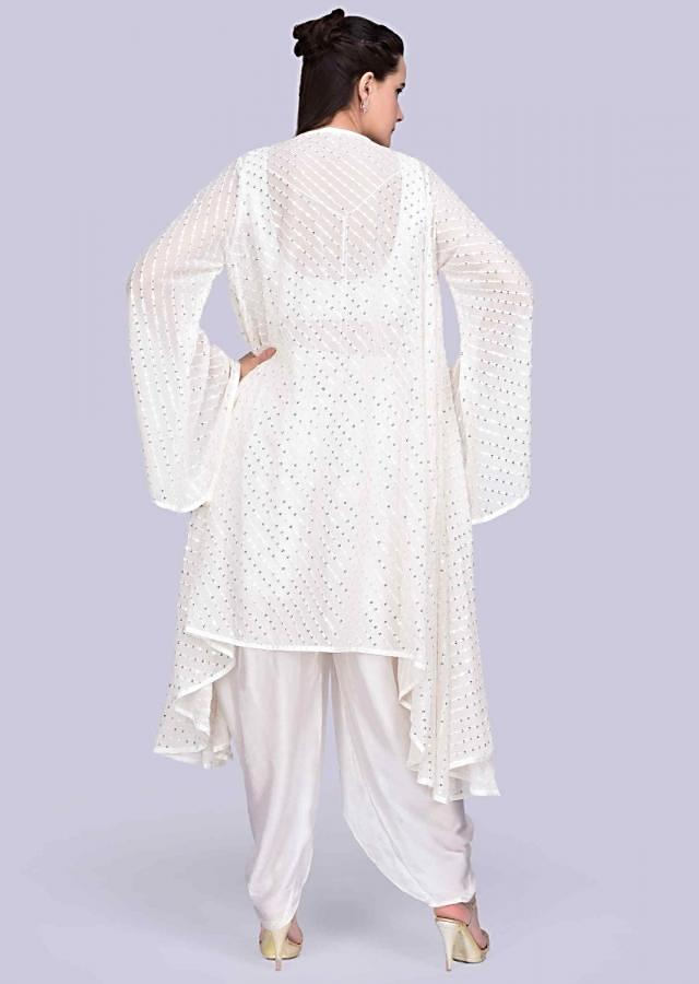 White Dhoti In Satin With Mirror Embroidered Crop Top And Matching Jacket Online - Kalki Fashion