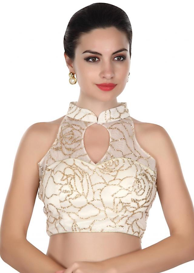 White shimmer blouse with Chinese collar only on Kalki