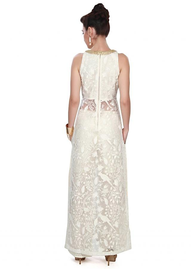 White straight suit adorn in French knot embroidery only on Kalki