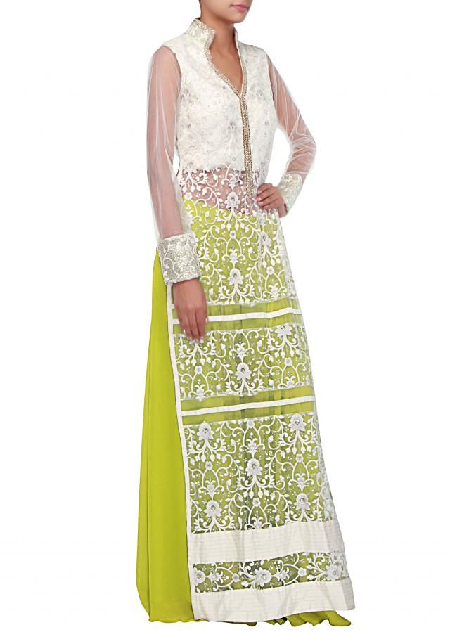 White straight suit adorn in thread and kundan embroidery only on Kalki
