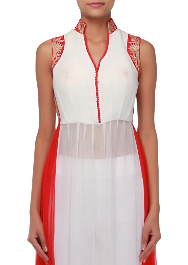 White straight suit enhanced in zari embroidery only on Kalki