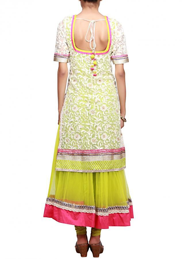White suit embellished in thread embroidery only on Kalki