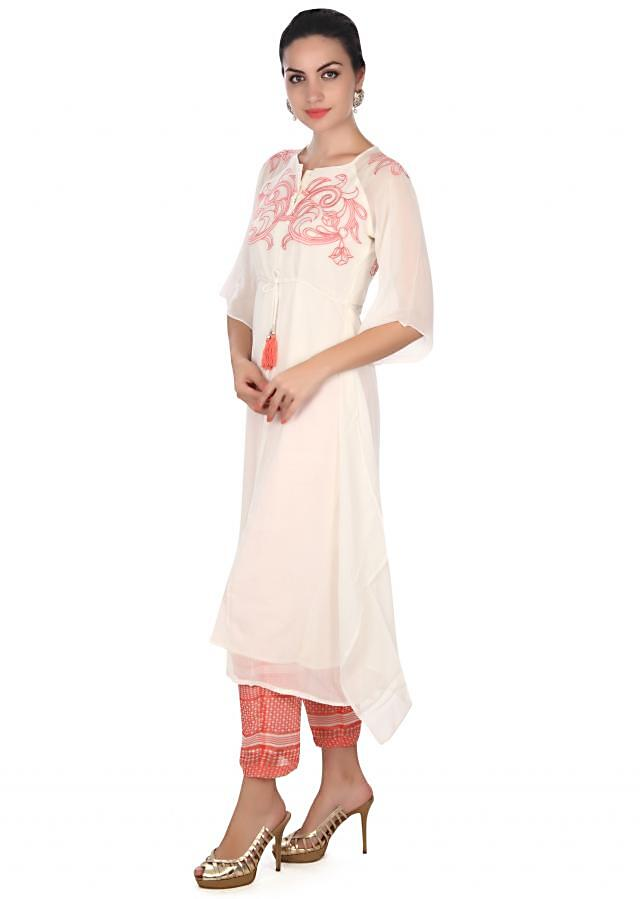 White suit in resham embroidery with printed pant only on Kalki