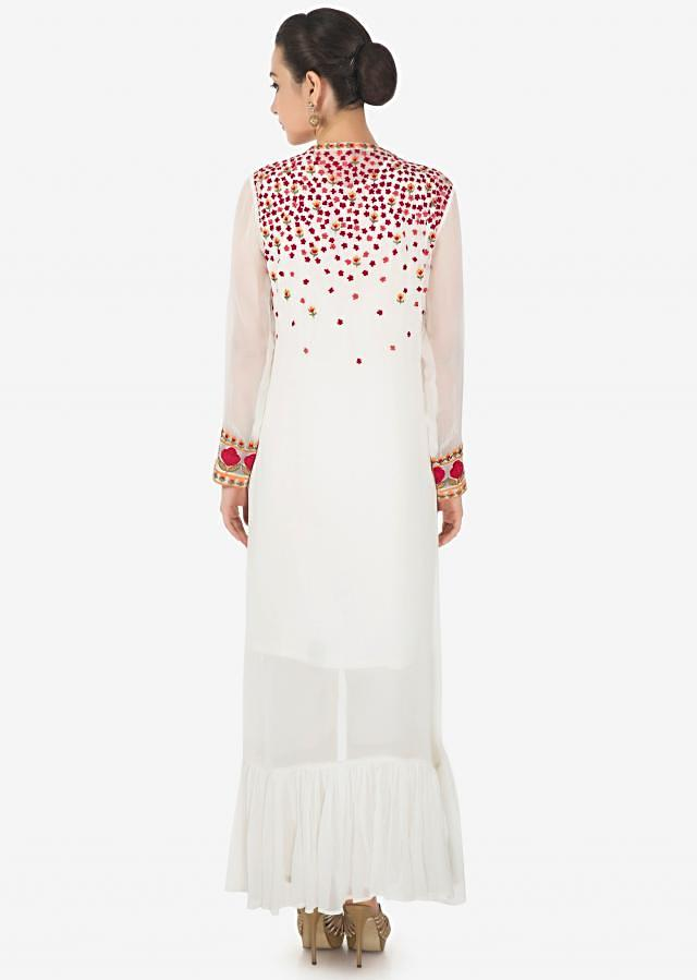 White suit matched with resham embroidered jacket and pants only on Kalki