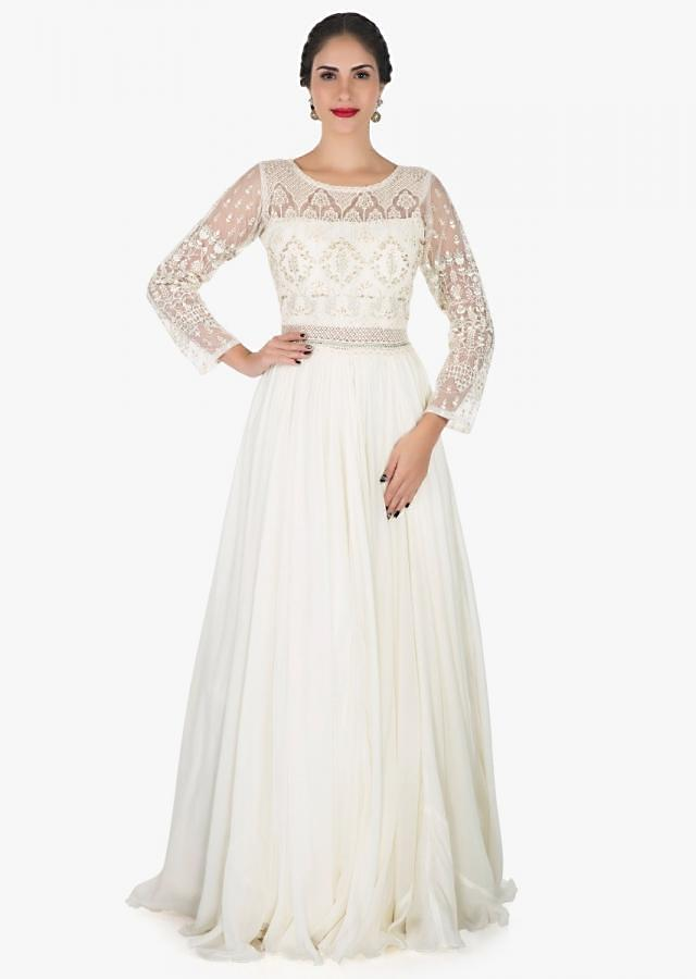 White anarkali gown in georgette adorn in thread and sequin embroidery work only on Kalki