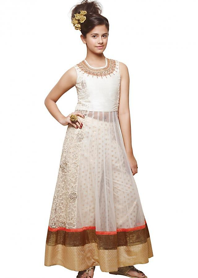 White anarkali suit featuring with zardosi embroidery