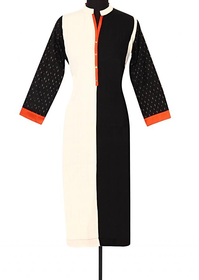White and black kurti in orange contrast piping only on Kalki