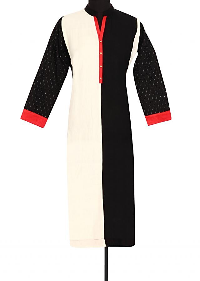 White and black kurti in red contrast piping only on Kalki