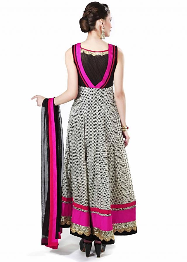 White and black printed suit adorn in sequin only on Kalki