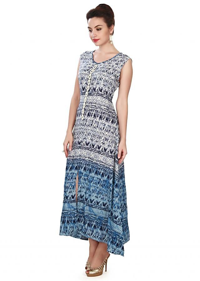 White and blue long kurti in moti embroidery only on Kalki