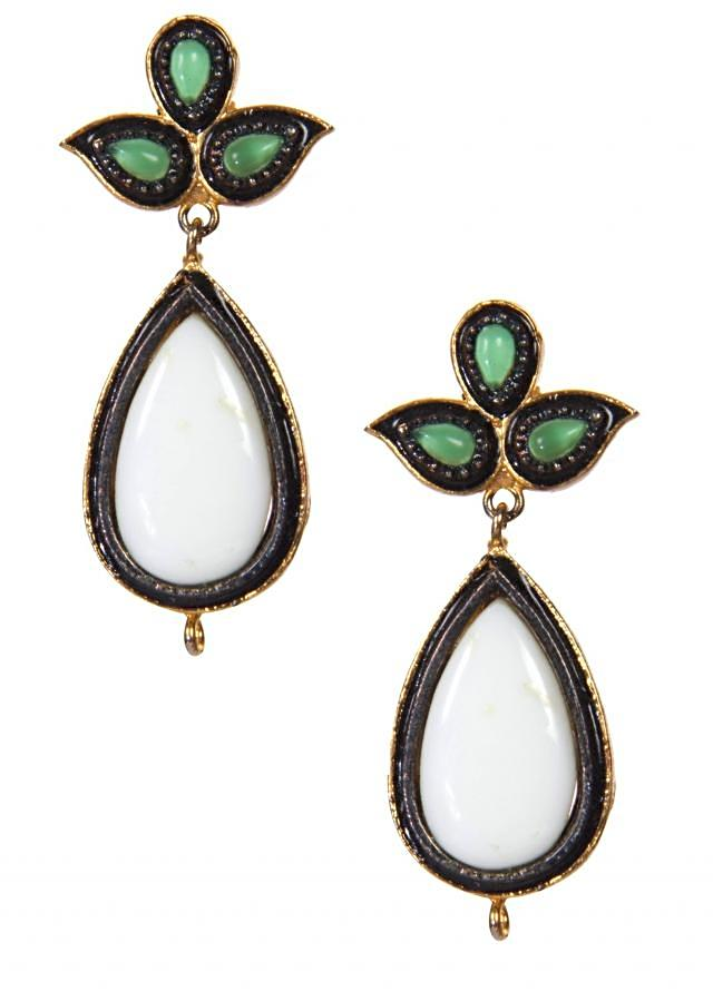 White and Green Drop Earrings only on Kalki