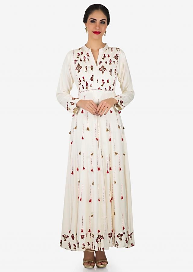 White Long Dress In Cotton Embellished In Thread And Tassel Work Online - Kalki Fashion