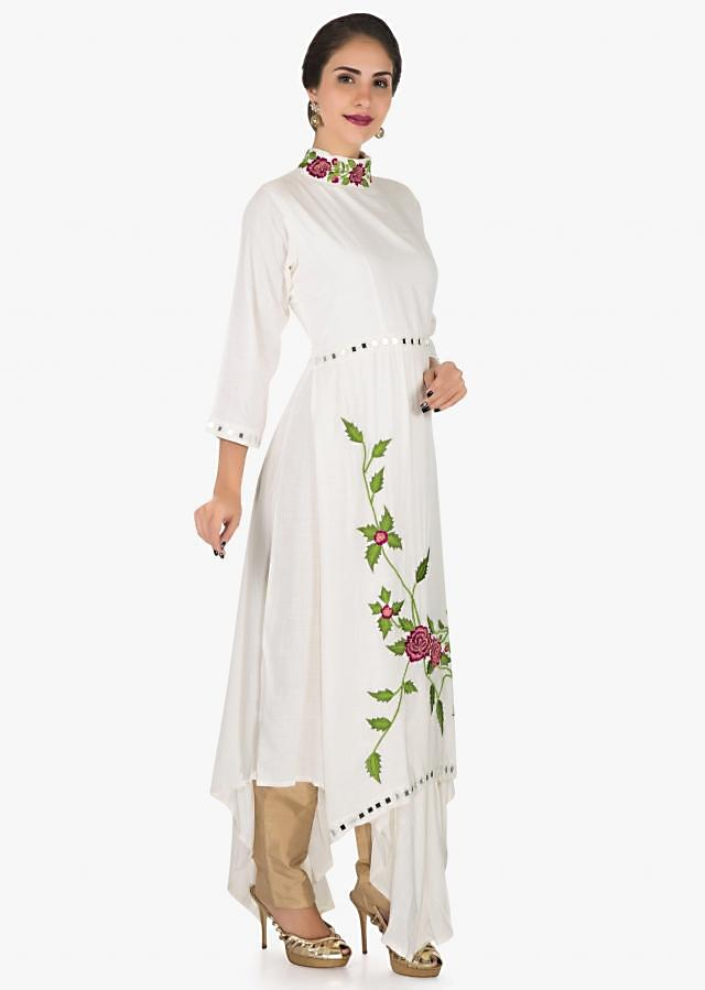 White cotton tunic beautified with beautiful resham embroidery work only on Kalki