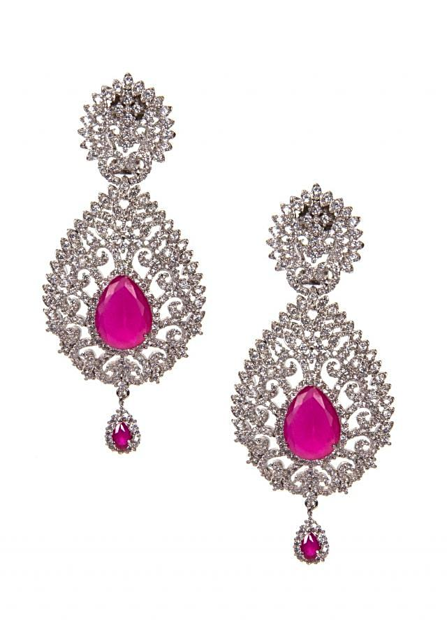 White Diamond Studded Earrings Adorn With Rani Pink Gems  only on Kalki