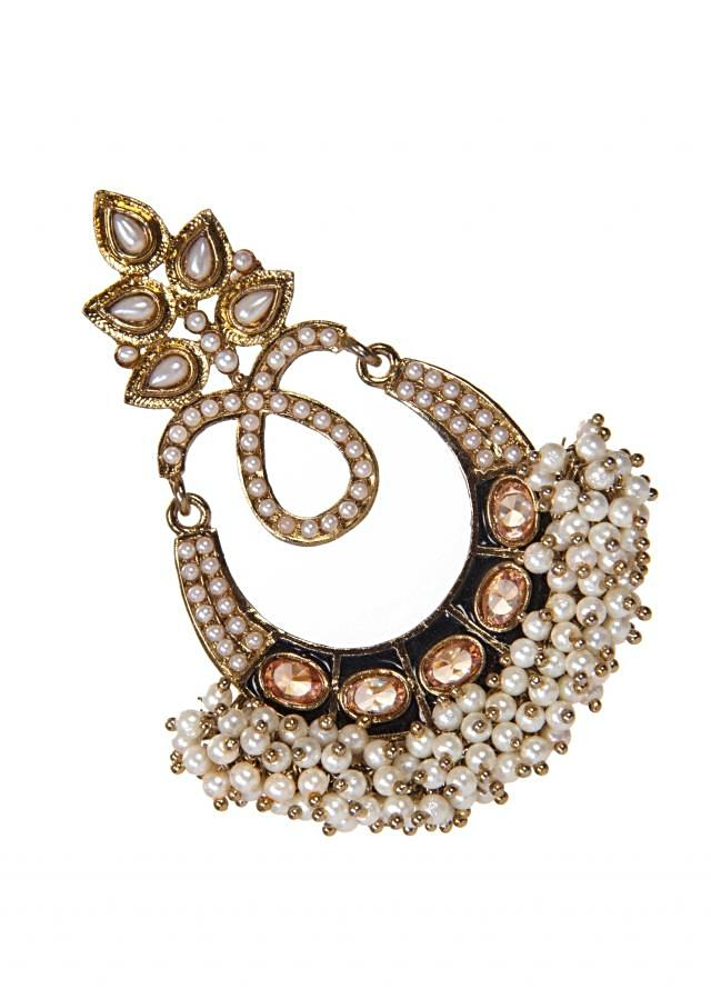 White Drop Earrings Adorn with White Motis and Gems only on Kalki