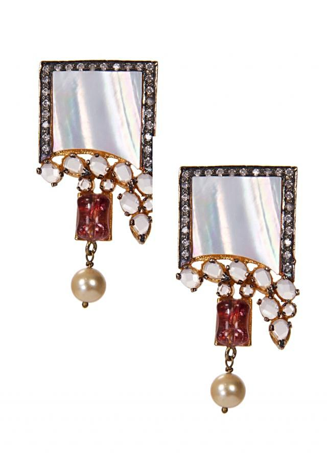 White Earrings Crafted With Diamonds And Cream Pearl Drops only on Kalki