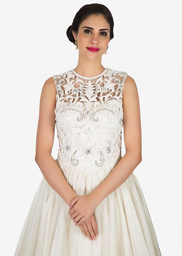 White fairy gown in tissue designed in heavy cut-work with resham embroidery work only on Kalki
