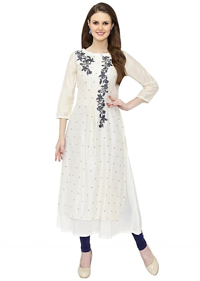 White Georgette Layered Kurta with Resham Embroidery only on Kalki