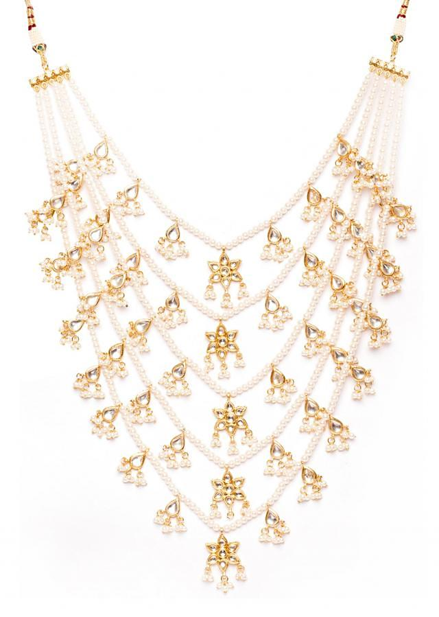 White Kundan And Pearl 5 Line Necklace only on Kalki