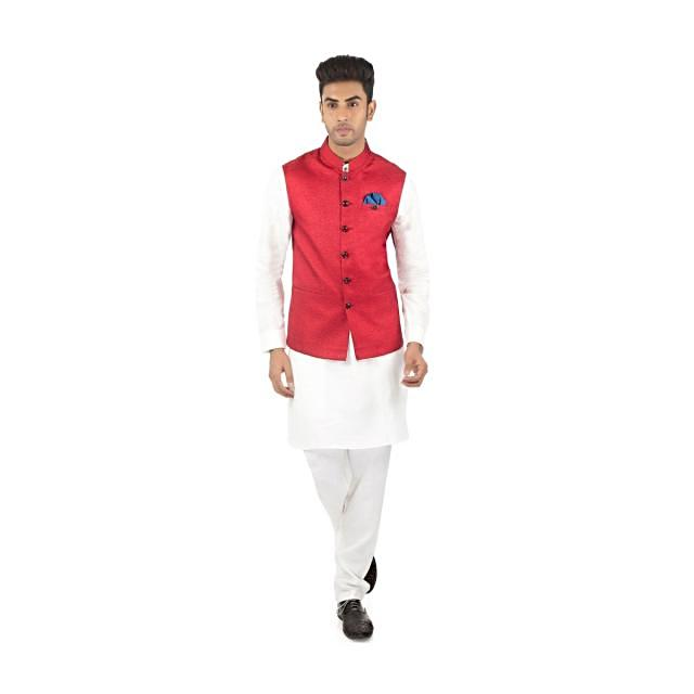 White Kurta, Aligarhi Pyjama and Red Silk Vest Coat Set on Kalki