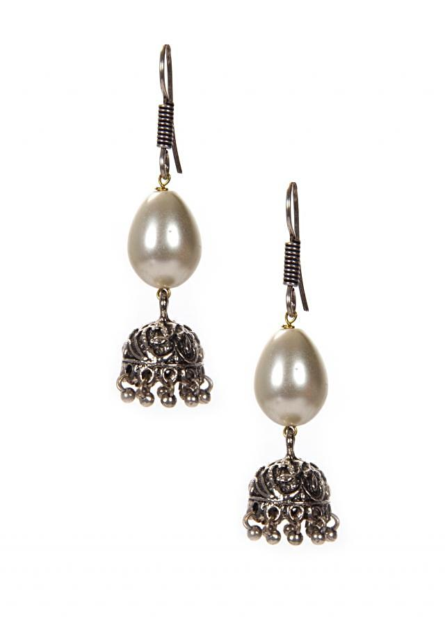 White Pearl Earrings With Attached Silver Jhumkas In Hanging Moti only on Kalki