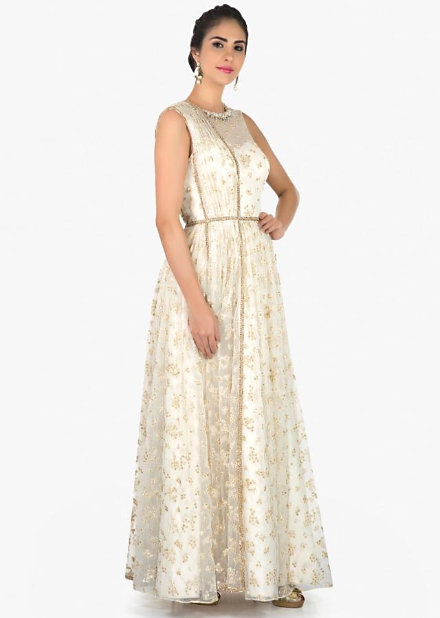 White pre stitched net gown with sequins only on Kalki