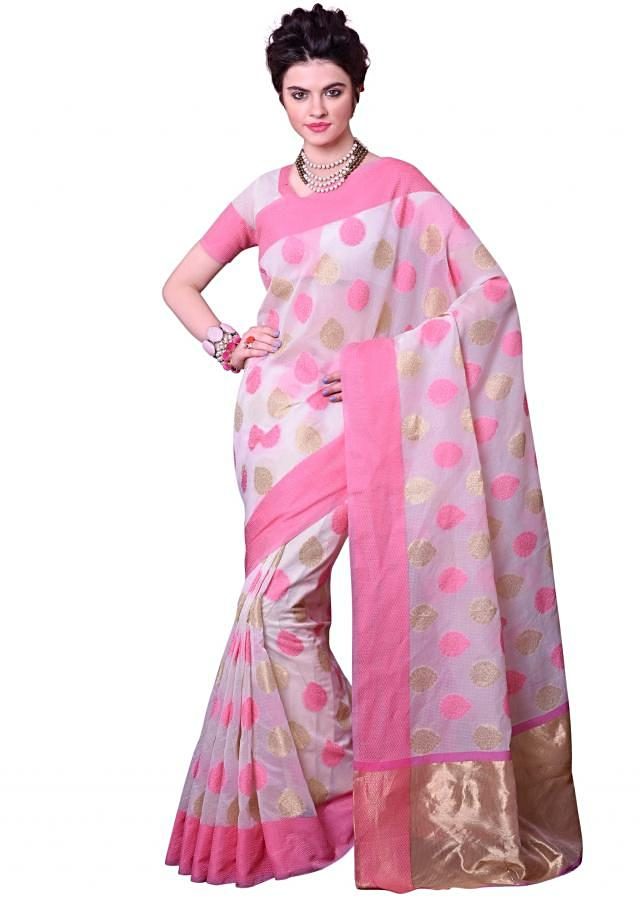 White saree in pink and gold weave butti