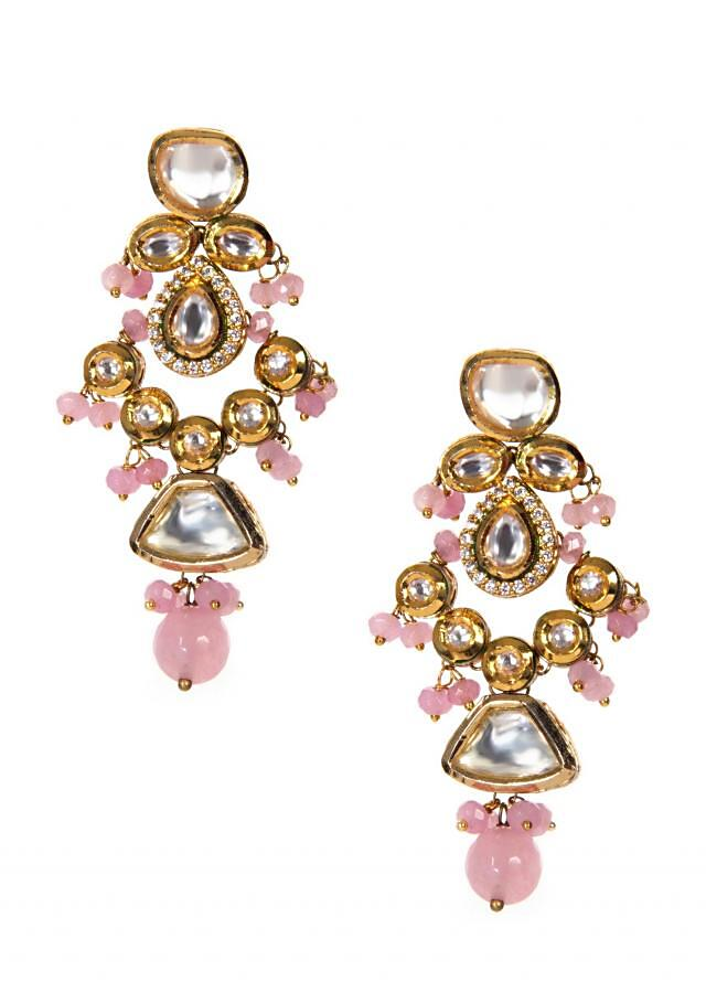 White Stone And Kundan Earring With Hanging Pearls In Pink only on Kalki