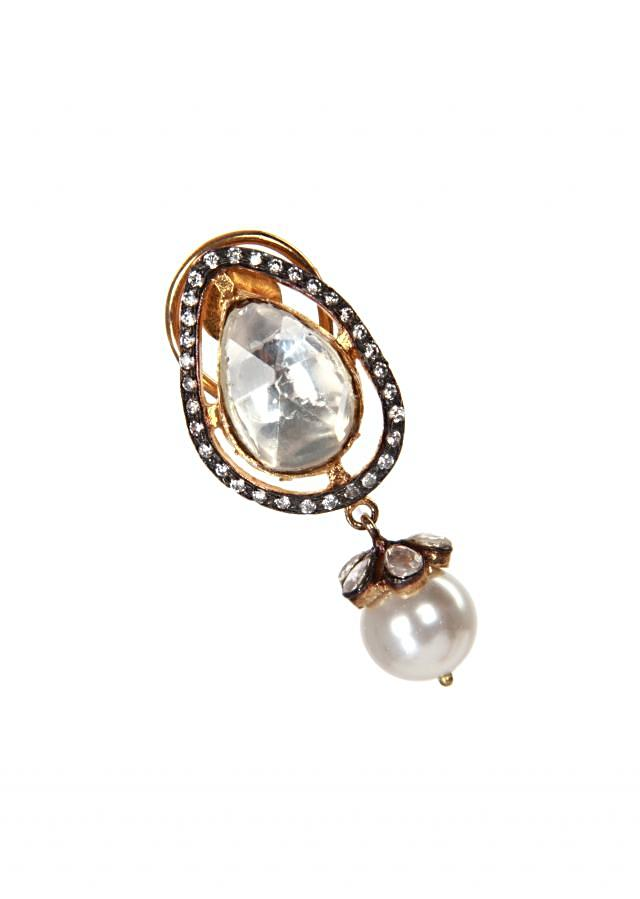 White stone pearl studs earring only on kalki