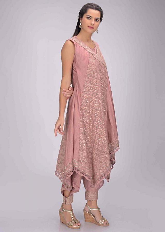 Wild Rose Pink Dhoti Set In Cotto With Embellished Jacket Online - Kalki Fashion