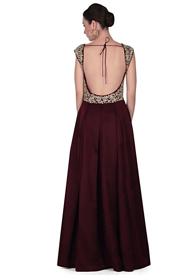 Wine anarkali suit with embroidered bodice only on Kalki