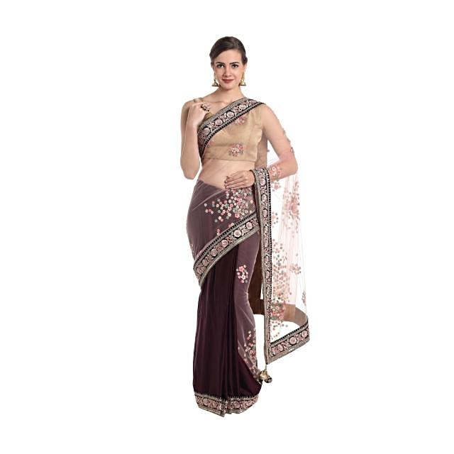 Wine and pink satin and net saree crafted with thread work and sequins only on Kalki