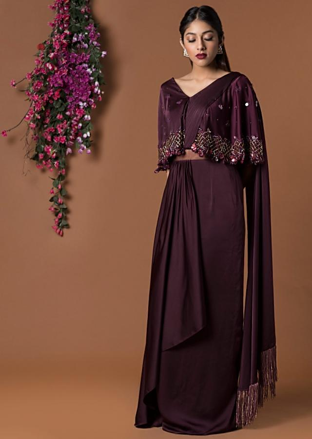 Wine Draped Sari Gown With Embellished Cape Sleeves Online - Kalki Fashion