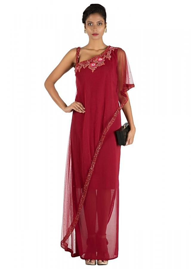 Wine Fitted Layer Dress With Off Shoulder Cape