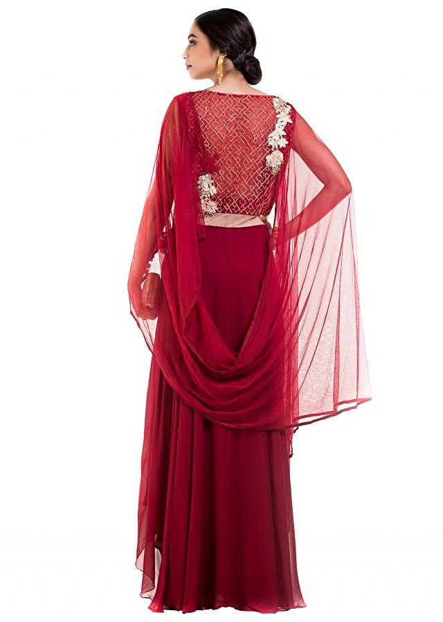 Blood Red Layered Suit Set With Attached Dupatta Online - Kalki Fashion