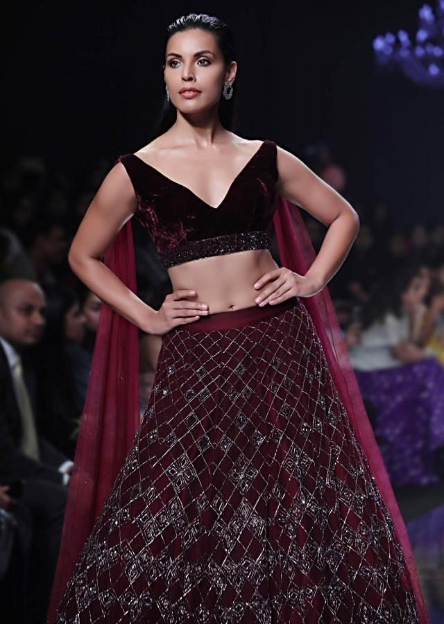 Jewel-toned Cassis Lehenga Choli Hand Crafted With Extended Floor Length Sleeves Online - Kalki Fashion